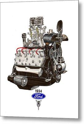 1934 Ford Flathead V 8  Metal Print by Jack Pumphrey