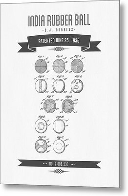 1935 India Rubber Ball Patent Drawing - Retro Gray Metal Print by Aged Pixel