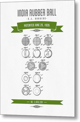 1935 India Rubber Ball Patent Drawing - Retro Green Metal Print