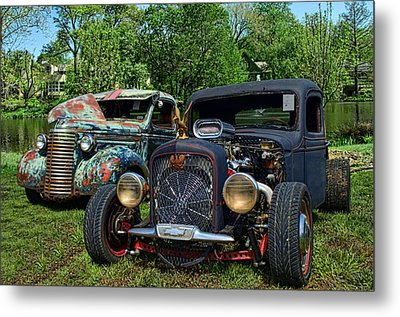 Metal Print featuring the photograph 1936 Chevrolet And 1939 Chevrolet Rat Rod Pickups by Tim McCullough