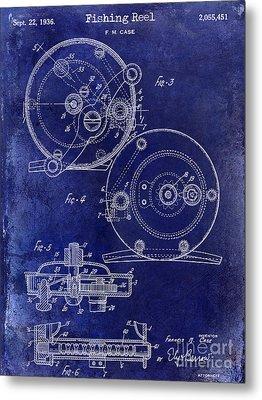 1936 Fishing Reel Patent Drawing Blue Metal Print
