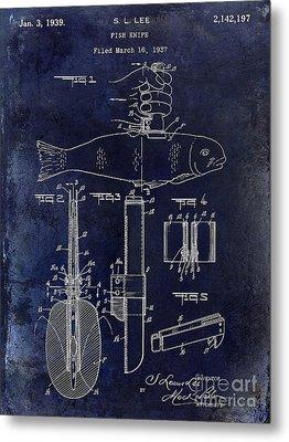 1937 Fishing Knife Patent Blue Metal Print