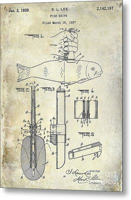 1937 Fishing Knife Patent Metal Print