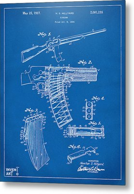 1937 Police Remington Model 8 Magazine Patent Artwork - Blueprin Metal Print by Nikki Marie Smith