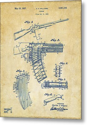 1937 Police Remington Model 8 Magazine Patent Artwork - Vintage Metal Print