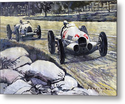 1937 Rudolf Caracciola Winning Swiss Gp W 125 Metal Print by Yuriy Shevchuk