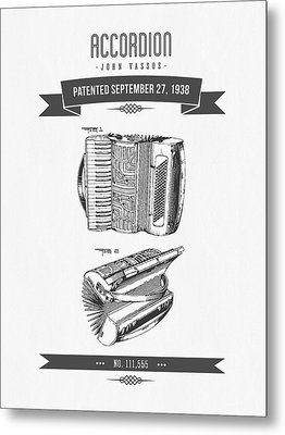 1938 Accordion Patent Drawing Metal Print by Aged Pixel
