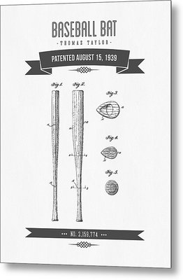 1939 Baseball Bat Patent Drawing Metal Print by Aged Pixel