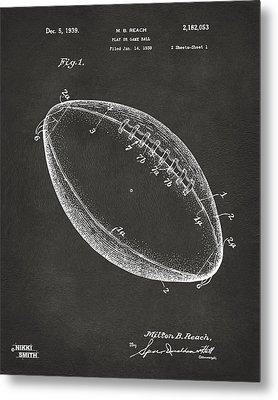 1939 Football Patent Artwork - Gray Metal Print