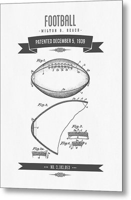 1939 Football Patent Drawing - Retro Gray Metal Print by Aged Pixel