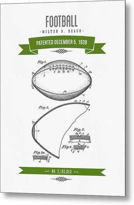 1939 Football Patent Drawing - Retro Green Metal Print by Aged Pixel