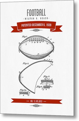 1939 Football Patent Drawing - Retro Red Metal Print by Aged Pixel