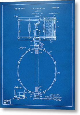 1939 Snare Drum Patent Blueprint Metal Print by Nikki Marie Smith