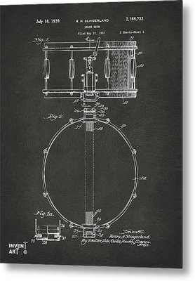 1939 Snare Drum Patent Gray Metal Print by Nikki Marie Smith