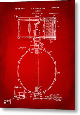 1939 Snare Drum Patent Red Metal Print by Nikki Marie Smith