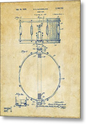 1939 Snare Drum Patent Vintage Metal Print by Nikki Marie Smith