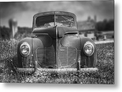 1940 Desoto Deluxe Black And White Metal Print