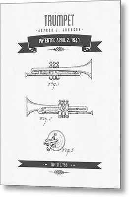 1940 Trumpet Patent Drawing Metal Print by Aged Pixel
