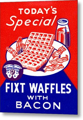 1940 Waffles With Bacon Metal Print by Historic Image