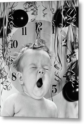 1940s 1950s Baby Yawning With Balloons Metal Print