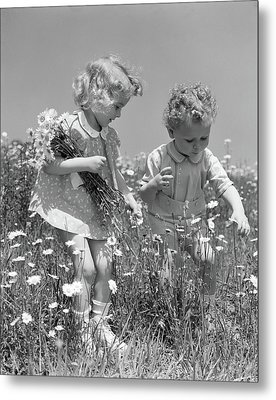 1940s Little Blonde Girl And Baby Boy Metal Print