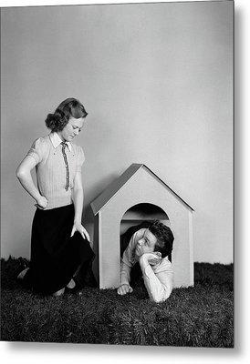 1940s Young Teenage Couple Arguing Girl Metal Print