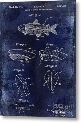 1941 Fish Cleaning Patent Patent Drawing Blue Metal Print