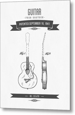 1941 Guitar Patent Drawing Metal Print by Aged Pixel
