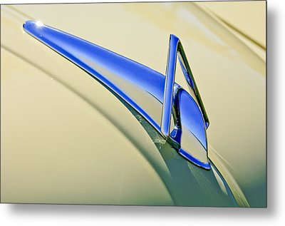 1949 Hudson Super Six  Hood Ornament Metal Print by Jill Reger