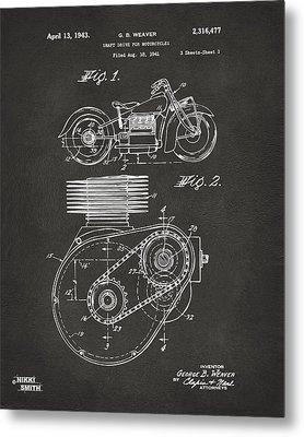 1941 Indian Motorcycle Patent Artwork - Gray Metal Print