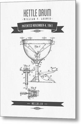 1941 Kettle Drum Patent Drawing Metal Print