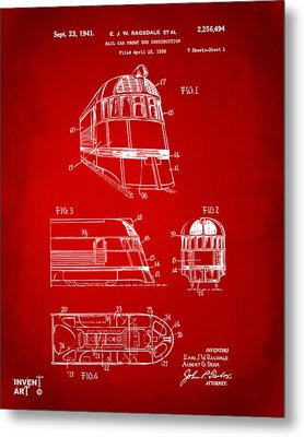 1941 Zephyr Train Patent Red Metal Print by Nikki Marie Smith