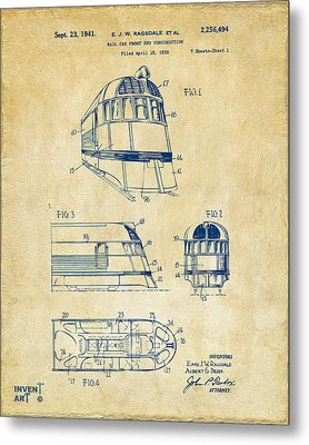1941 Zephyr Train Patent Vintage Metal Print by Nikki Marie Smith