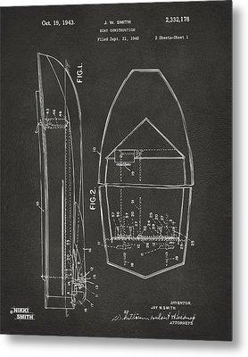 1943 Chris Craft Boat Patent Artwork - Gray Metal Print