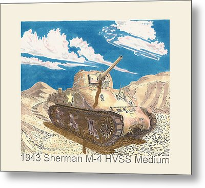 1943 Sherman M 4 Medium Taqnk Metal Print by Jack Pumphrey