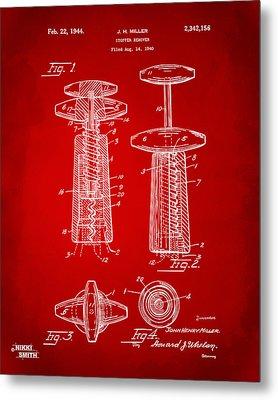 1944 Wine Corkscrew Patent Artwork - Red Metal Print