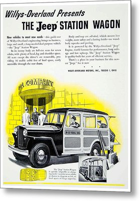 1946 - Willys Overland Jeep Station Wagon Advertisement - Color Metal Print