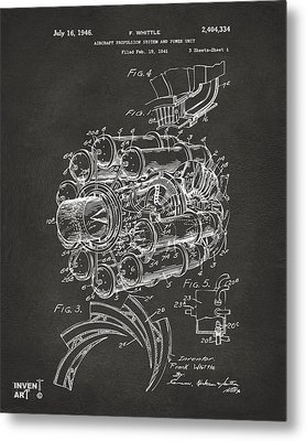 1946 Jet Aircraft Propulsion Patent Artwork - Gray Metal Print by Nikki Marie Smith