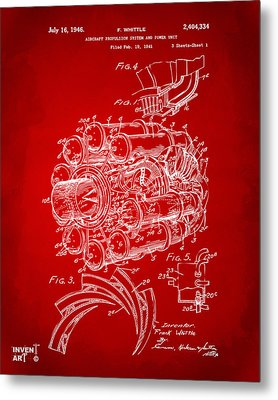 1946 Jet Aircraft Propulsion Patent Artwork - Red Metal Print by Nikki Marie Smith
