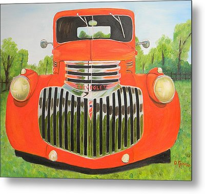 1946 Red Chevy Truck Metal Print