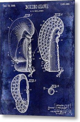 1948 Boxing Glove Patent Drawing Blue Metal Print by Jon Neidert