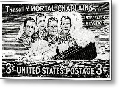 1948 Immortal Chaplains Stamp Metal Print by Historic Image