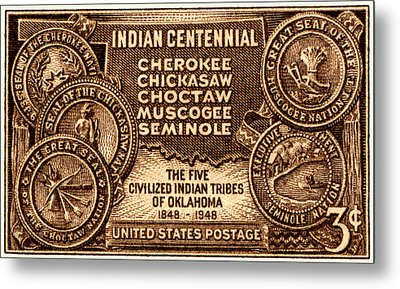 1948 Oklahoma Indian Centennial Stamp  Metal Print by Historic Image