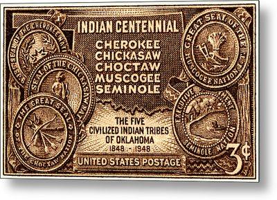 1948 Oklahoma Indian Centennial Stamp  Metal Print