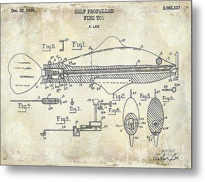 1949 Artificial Fish Lure Patent Drawing Blue Metal Print