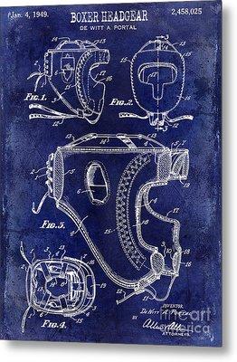 1949 Boxer Headgear Patent Drawing Blue Metal Print by Jon Neidert