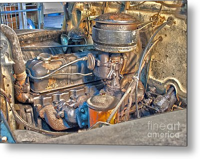 1949 Chevy Truck Engine Metal Print by D Wallace