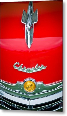 1949 Chrysler Town And Country Convertible Hood Ornament And Emblems Metal Print