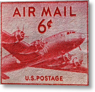 1949 Dc-4 Skymaster Air Mail Stamp Metal Print by Bill Owen
