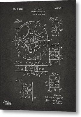 1949 Movie Film Reel Patent Artwork - Gray Metal Print by Nikki Marie Smith
